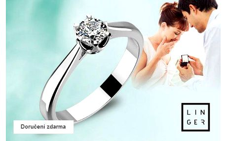 Zásnubní prsteny z bílého zlata se zirkony – doručení zdarma