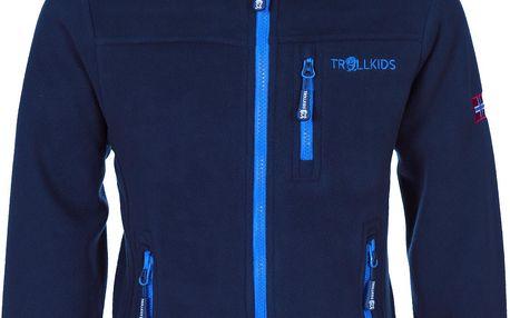 Chlapecká fleecová bunda s kapucí - tmavě modrá