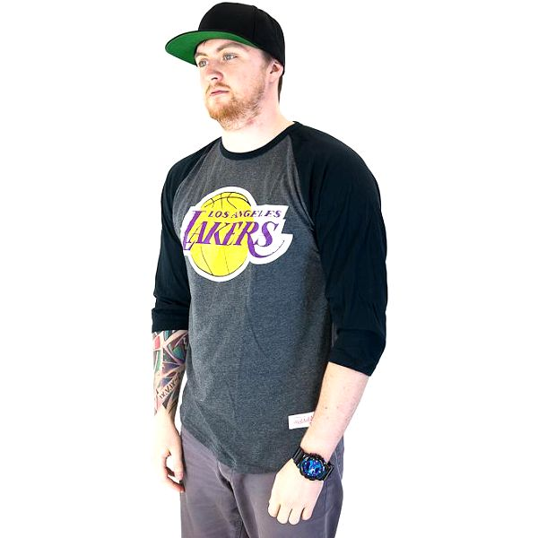 Triko Mitchell & Ness Team Logo Reglan Los Angeles Lakers Grey