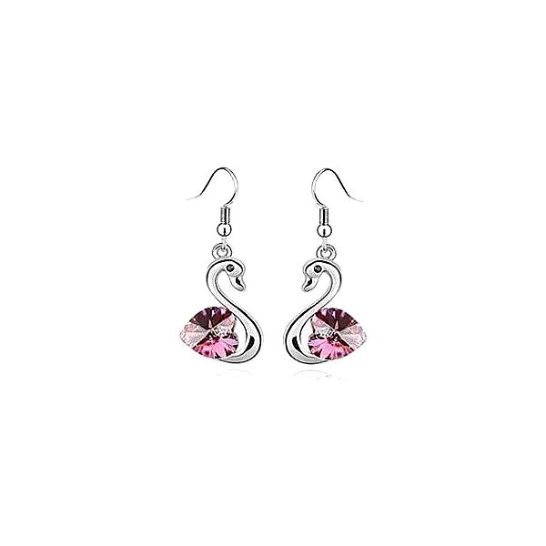 Luxusní náušnice ve tvaru labutě s růžovým kamínkem z materiálu STANLESS METAL!