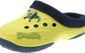 Chlapecké pantofle s kožíškem SpongeBob - žluto-modré