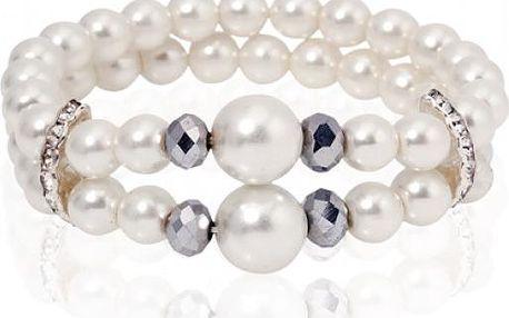 Náramek z nepravých perel - světlý