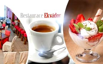 Sladké potěšení pro DVA! Ovocný ZMRZLINOVÝ POHÁR s jahodami a šlehačkou + šálek kávy Espresso (Segafredo).