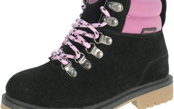 Dívčí kotníkové boty - růžovo-černé