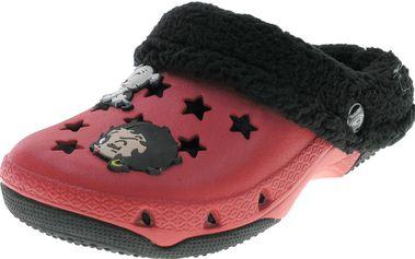 Dívčí pantofle s kožíškem Betty Boop - červeno-černé