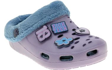 Dívčí pantofle s kožíškem - světle fialové