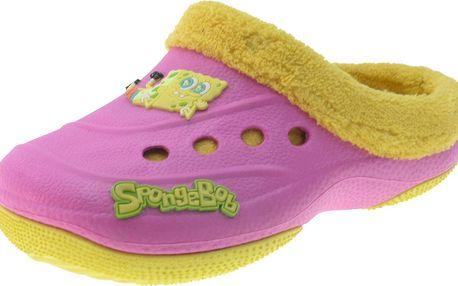 Dívčí pantofle s kožíškem SpongeBob - růžové