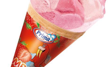 Prima Prima Mrož zmrzlinový kornout jahodový 115ml