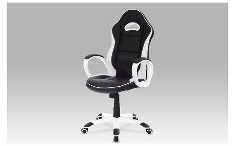 Autronic Kancelářská židle KA-E510 BK, koženka černo-bílá
