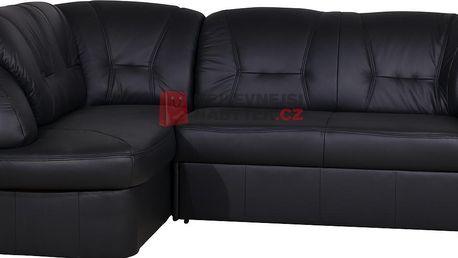 Kožená rohová sedačka SALVADOR, levá, černá kůže