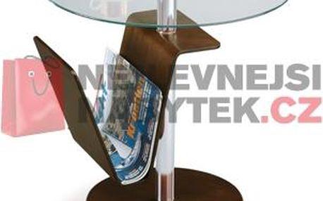 Odkládací stolek 23819 WAL, sklo/ořech