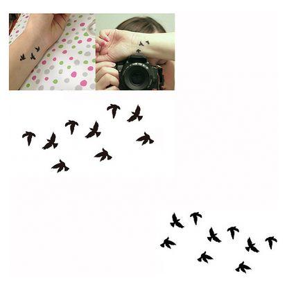 Dočasné tetování s ptáčky