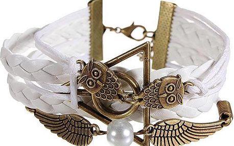 Bílý náramek se sovičkami a perlou