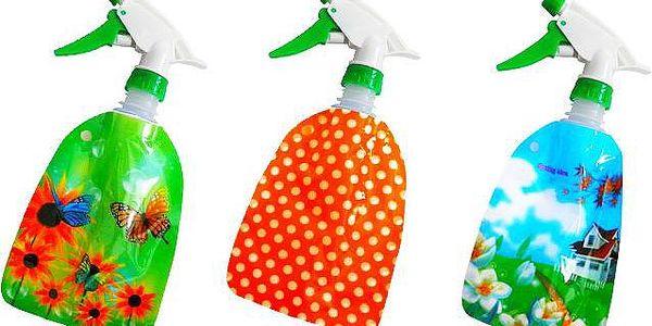 3 ks praktického rozprašovače se skládací nádobou s barevným designem