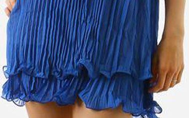 TopMode Dámské zajímavé sexy šaty za krk s perlama modrá