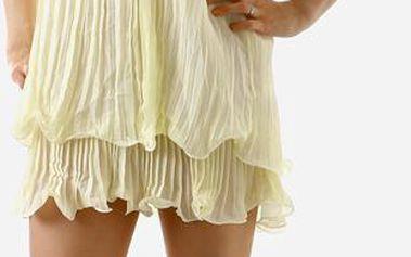 TopMode Dámské zajímavé sexy šaty za krk s perlama krémová