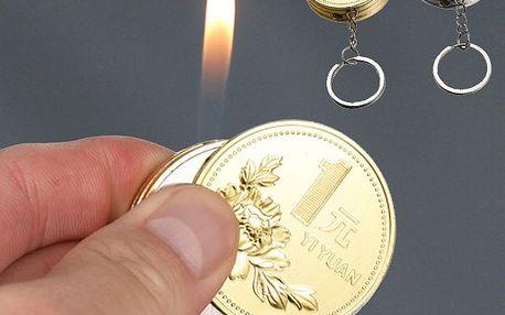Zapalovač na klíče v podobě mince