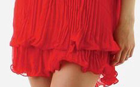 TopMode Dámské zajímavé sexy šaty za krk s perlama červená