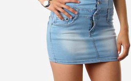 TopMode Dámské džínové mini šaty bez ramínek modrá