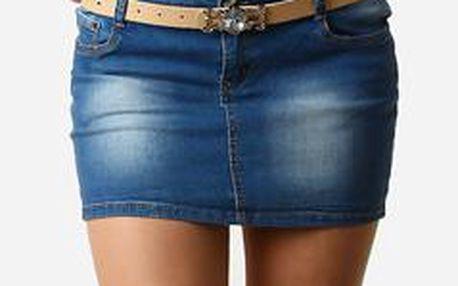 TopMode Dámské zdobené džínové mini šaty bez ramínek modrá