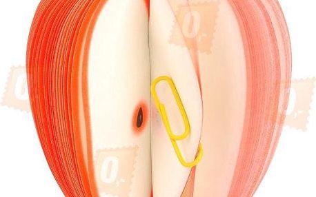 Originální papírový trhací bloček ve tvaru jablka