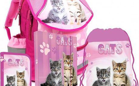 Karton P+P Školní set batoh, penál, sáček, desky KOČKA