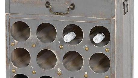 Stojan na 20 lahví vína Shabby, šedý - doprava zdarma!