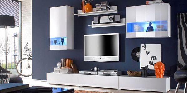 Moderní obývací stěna Warum – bílý lesk