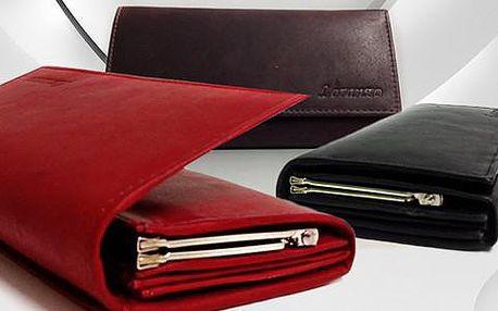 Luxusní dámská kožená peněženka, italský design ve 3 barvách