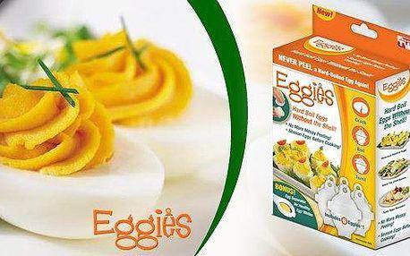 Šikovné nádobky na vaření vajíček - už žádné skořápky po vajíčkách, jen dokonalý tvar i po uvaření!6 kusů formiček Eggies pro revoluční vaření vajec bez nepořádku!