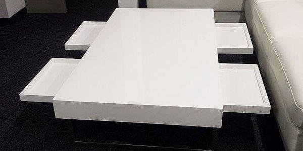 Luxusní konferenční stolek s vysokým leskem v bílé barvě