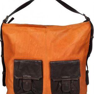 Celokožená kabelka - oranžová 2542-2