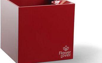 Samozavlažovací květináč Flower Lover Cubico 33x33x33 cm, červený