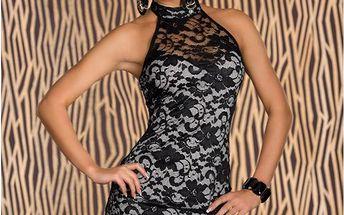 Dámské koktejlové šaty B-Fashion, černo-bílé