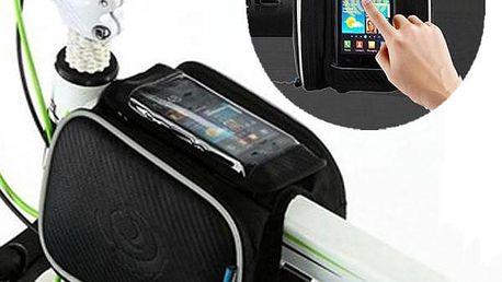 Cyklistická brašna na rám jízdního kola s kapsou pro telefon - skladovka