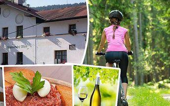 Pobyt pro dva s polopenzí v penzionu Klášterský mlýn na Šumavě. Láhev vína, digestiv, tenisový kurt!