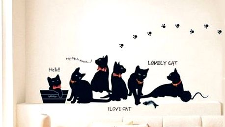 Samolepka na zeď - kočičí rodina