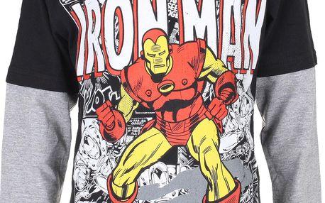 Chlapecké tričko dlouhým rukávem IRON MAN - šedo-černé