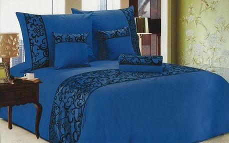 NOVIA Luxusní povlečení se saténem, bavlna, 6 dílné, 140x200 70x90 40x40, Barva Modrá