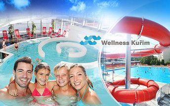 AQUAPARK WELLNESS KUŘIM u Brna! Vstup na 180 minut pro DVA nebo pro rodinu. Bazény, tobogán, vířivka.