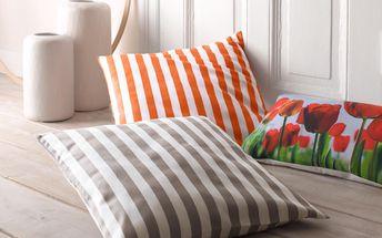 Tchibo, Povlak na dekorační polštářek, oranžovo-bílý proužek
