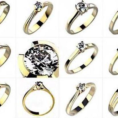 Snubní prsteny ze 14karátového zlata se zirkony