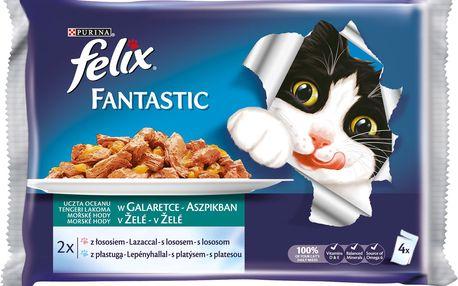 Felix FELIX Fantastic s lososem a platýzem v želé 4x100g