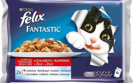 Felix FELIX Fantastic s hovězím a kuřetem v želé 4x100g