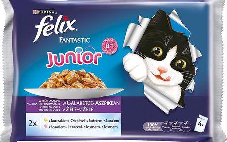 Felix FELIX Fantastic Junior s kuřetem a lososem v želé 4x100g