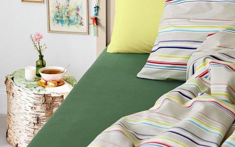 Tchibo, Žerzejové napínací prostěradlo, na dvoulůžko, tmavě zelené
