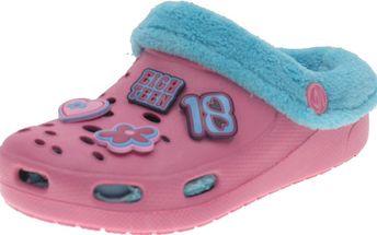 Dívčí pantofle s kožíškem - růžové