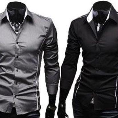Pánská košile Slim Fit s dlouhým rukávem. 3 barvy
