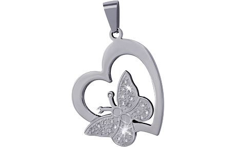 Přívěsek srdce s motýlem - butterfly