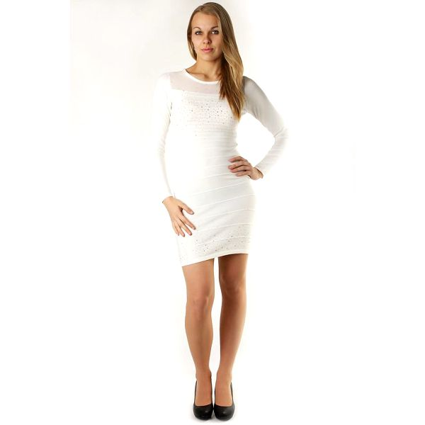 TopMode Dámské stylové úpletové šaty / svetr bílá